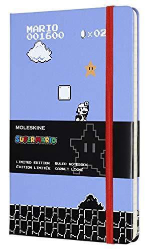 Moleskine Taccuino Super Mario in Edizione Limitata, Notebook a Righe con Grafica e Dettagli a Tema Videogioco Super Mario, Formato Large 13 x 21 cm, Colore Azzurro, 240 Pagine
