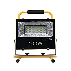 Waterproof LED Work Light Solar Powered Light 126 LED Super Bright for Job Site Lightning Construction Site Camping Outdoor Adjustable Spotlight with Rechargeable Lithium-ion Battery