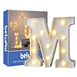 Luci LED decorative a forma di lettere dell'alfabeto, colore bianco, alimentate a batteria, per decorazione di casa, matrimoni, feste, reception, bar (lettera M)