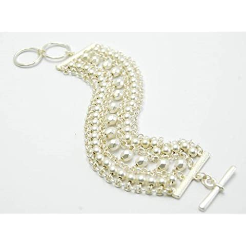 metal de plata pulsera de moda señoras de palanca