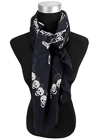 Bandana noir/blanc/motif tête de mort et squelette-taille 100 x 100 cm