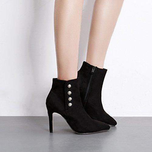 ALUK- Autunno e inverno: stivali da donna con i tacchi alti e stivali a stiletto ( Colore : Nero , dimensioni : 38-foot length 240cm ) Nero