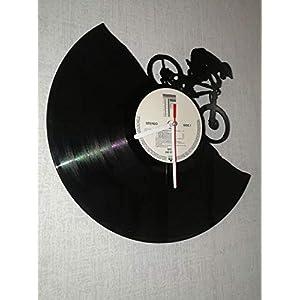 Wanduhr aus Vinyl Schallplattenuhr mit Mountainbike Motiv upcycling design Uhr Wand-deko vintage-Uhr Wand-Dekoration…