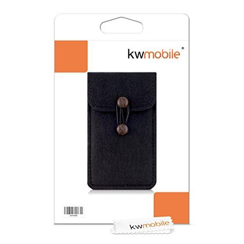 kwmobile Edle Filztasche mit Knöpfen für Smartphones in Violett Schwarz