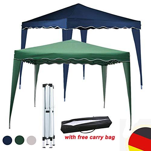 Huini Gartenpavillon 3x3m Popup Klapppavillon ohne Seitenwände Partyhochzeit BBQ Zelt Sonnenschutz Markise Shelter mit Tragetasche Easy Button Open - Weiß