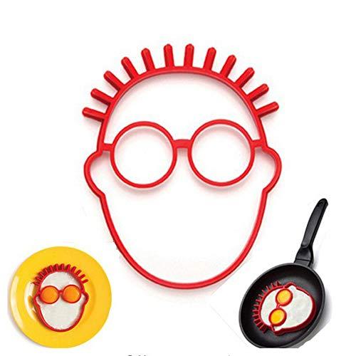 Rishx Silikon-Ei-Ring-Ei-Form, Lächeln Kopf geformt Ei-Ring-Kuchen-Pfanne Antihaft-lustige Küche Zubehör Kochen Tools