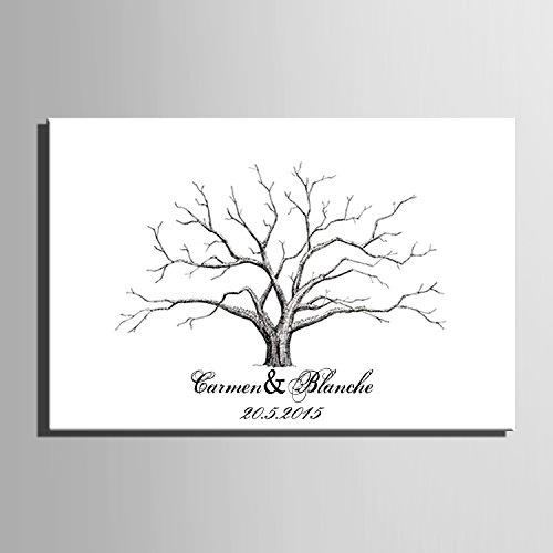 Gris tree-fingerprint lienzo de firma árbol de boda regalo de bodas Decoración de la boda fiesta regalo boda nombre (incluye 12colores de tinta), 59cm*80cm/pc