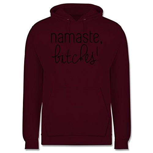 Statement Shirts - Namaste, Bitches! - Männer Premium Kapuzenpullover / Hoodie Burgundrot