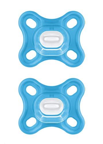 MAM Comfort Schnuller im 2er-Set, besonders kleiner und leichter Baby Schnuller speziell für Früh- und Neugeborene aus 100% Silikon, mit weichem MAM SkinSoft Saugteil und Schnullerbox, 0+ Monate, blau