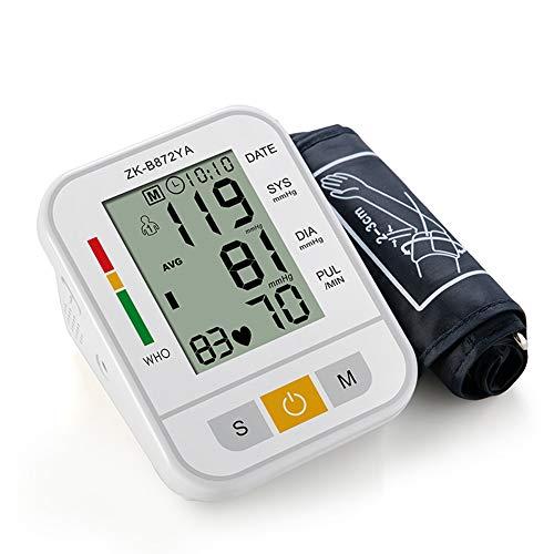 Tensiómetro de brazo superior preciso Sencillo y duradero Soporte de brazo ajustable Pantalla LCD grande con un botón de operación 99 conjuntos de datos,White