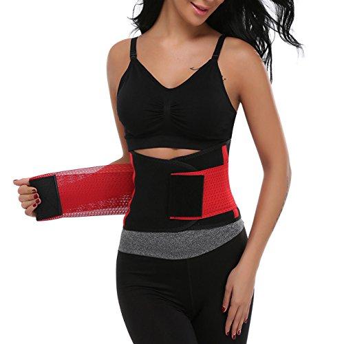 MISS MOLY Damen Frauen Taille Trainer Gürtel Taille Cincher Trimmer Sanduhr Körper Shaper Sport Gürtel Damen Gürtel nach Geburt Rot M
