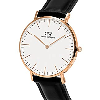 Daniel Wellington – Reloj analógico para caballero de cuero negro
