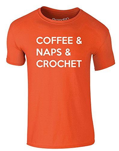 Brand88 - Coffee & Naps & Crochet, Erwachsene Gedrucktes T-Shirt Orange/Weiß