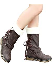 Minetom Donna Neve Stivali Punta Rotonda Pelliccia Autunno Inverno Snow  Boots Female Moda Flats Shoes ( df892e72fd7