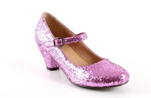Salon Merceditas Glitter Rosa Niñas Tacon Ancho.28