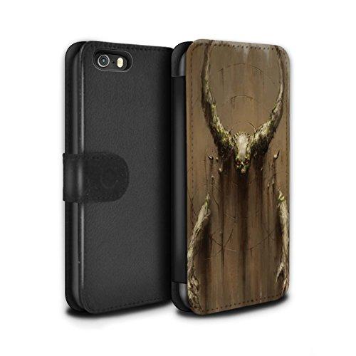 Offiziell Chris Cold PU-Leder Hülle/Case/Tasche/Cover für Apple iPhone SE / Hörner Muster / Dunkle Kunst Dämon Kollektion Hörner