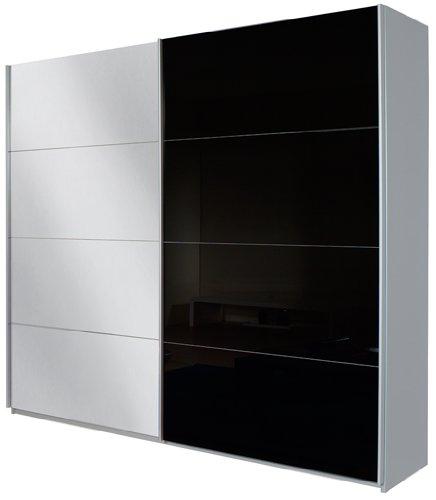 Rauch Schwebetürenschrank mit Spiegel 2-türig, Glaspaneele Schwarz, Korpus Grau Metallic Nachbildung, BxHxT 181x210x62 cm