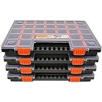 Set de 4 cajas clasificadoras para piezas pequeñas, con compartimentos individuales, organizador 399x 303x 50mm.