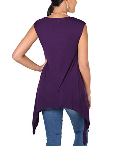 KRISP® Damen Lockeres Jersey Stoff Shirt Langer Zipfel Saum Violett (6255)