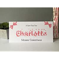 Personalised Christmas Card Money Gift Wallet Vouchers Cash Pink Snowflake