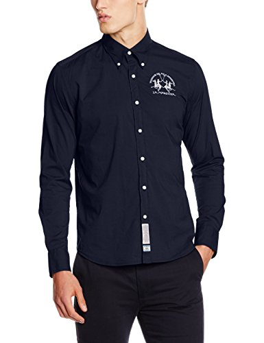 La Martina Man Shirt L/S Poplin Stretch IMC003, Camicia Da Uomo, Blu (07017 Navy), Large