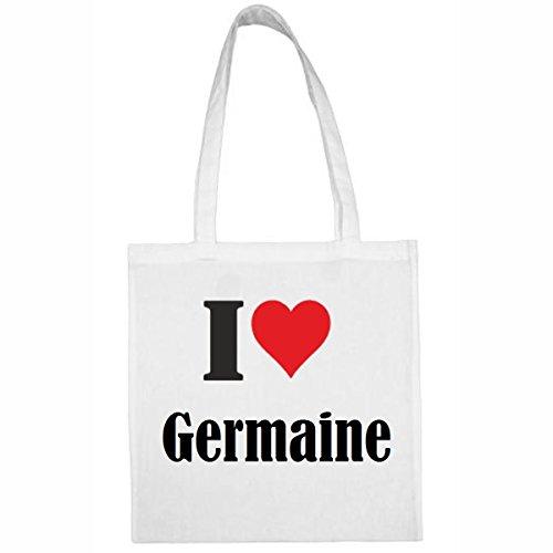 """Tasche""""I Love Germaine""""Größe""""38x42""""Farbe""""Weiss""""Druck""""Schwarz"""