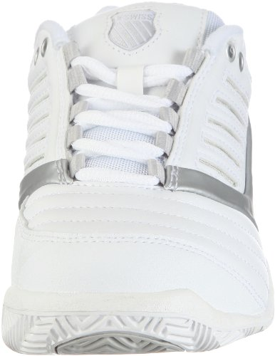 K-Swiss SURPASS 9160-155-M, Chaussures de tennis femme Blanc (White/Silver 155)
