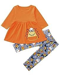 JYC Conjuntos para niñas,Ropa para Chicas,Niñito Bebé Niña Largo Mangas Impresión Tops+Pantalones Equipar Ropa Halloween Conjunto