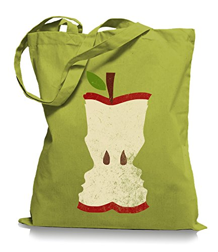 Ma2ca® Apfel Faces Valentins Stoffbeutel Einkaufstasche Tragetasche / Bag WM101 Kiwi