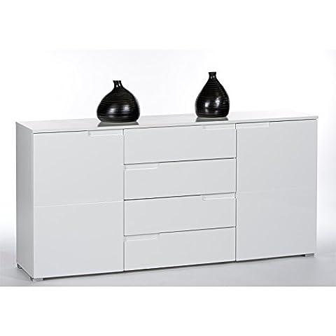 Sideboard Anrichte Kommode MONA, 2 Türen und 4 Schubladen, in weiß Hochglanz