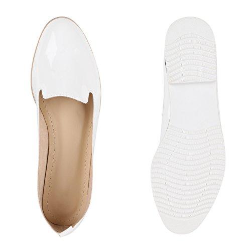 Damen Slipper Dandy Style Loafers Lack Profilsohle Schuhe Weiß