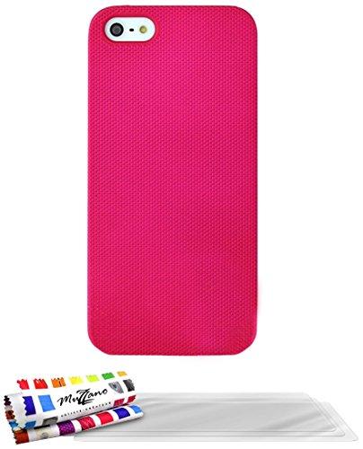 Flip-Case APPLE IPHONE 5 [CroCoChic Premium] [Rosa] von MUZZANO + STIFT und MICROFASERTUCH MUZZANO® GRATIS - Das ULTIMATIVE, ELEGANTE UND LANGLEBIGE Schutz-Case für Ihr APPLE IPHONE 5 Rosa + 3 Displayschutzfolien