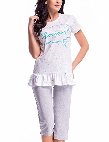 Dn-Nightwear PM.7020 Charmant Et Confortable Pyjama blanc-turquoise