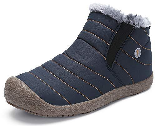 katliu Damen Herren Winterschuhe Warm Gefüttert Winterstiefel Rutschfest Winter Boots Outdoor Leicht Schnee Schuhe für Frauen Männer,Blau 39