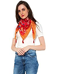 Chumbak Womens's Floral Peacock Red Scarf