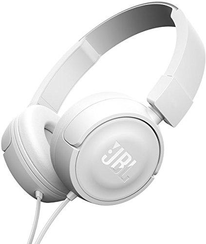 JBL T450 - Auriculares supraaurales con micrófono incluido y cable (control remoto de un solo botón, sonido Pure Bass) color blanco