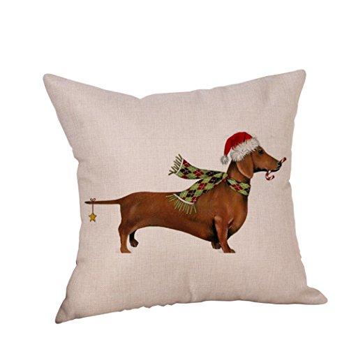 Ubabamama Quadratisch Kissenbezüge, Weihnachten Hund Leinen Kissenbezug Werfen Kissen Fall Sofa Bett Home Dekoration (C) (Zustand Schneemann-kissen)