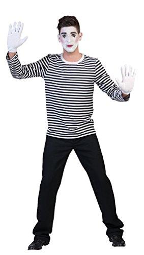 lown Pantomime Kostüm Damen Herren Mime-Artist Ringelpulli schwarz-weiß gestreift Größe 46/48 (Mime Halloween Kostüm Kinder)