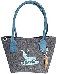 a19e34dd567f7 Graue Trachten-Handtasche Dirndltasche aus Filz mit Wild-Leder und Blauer Stickerei  Hirsch