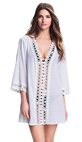 ankleid Perforierte Nähte Spitze V-Ausschnitt Badeanzug Bikini Kittel Strand Rock Weiß S (Arabische Männliche Kostüm)