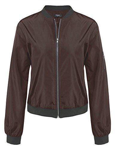 Zeagoo Damen Herbst Winter Steppmantel Bomberjacke Daunenjacke mit Futter Bikerjacke Kurz Jacke, Gr-EU 36 (Herstellergröße: M), ,Kaffee
