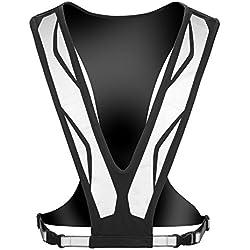 Hochsichtbares, Leichtes, Reflektierendes Lycra-Laufhemd, Jogging-Weste mit Scotchlite 3M L Schwarz