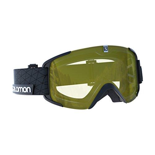 Salomon maschera da sci unisex, tempo nuvoloso, visiera giallo con effetto flash, sistema airflow, xview access, nero, l39902900