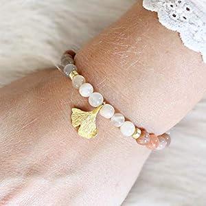 Armband Damen aus Mondstein mit Anhänger Ginkgoblatt 925 Silber vergoldet, perfektes Geschenk für Frauen