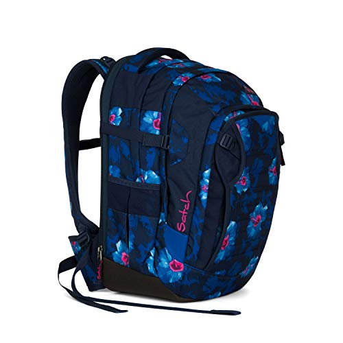 Satch Match Waikiki Blue, ergonomischer Schulrucksack, erweiterbar auf 35 Liter, extra Fronttasche, Dunkelblau/Weiß/Pink