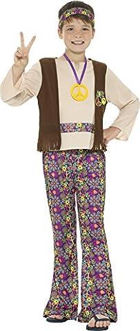 Smiffys Déguisement Enfant, Garçon Hippie, avec haut, gilet attaché, pantalon, médaillon et bandeau, Âge 7-9 ans, Couleur: Multicolore,