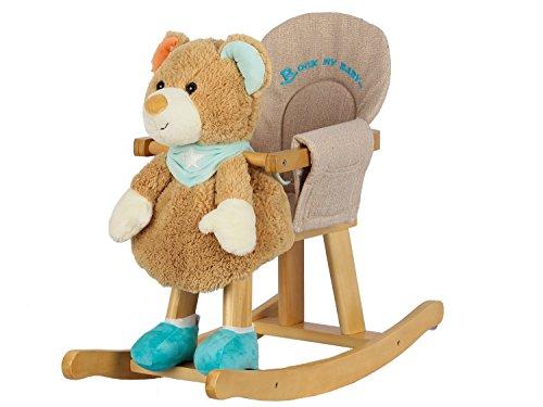 Dunjo® Baby Plüsch Schaukelbär   Schaukeltier Bär Grün/Braun   Für Kinder ab 1- 3 Jahre   Extra Weich