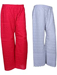 IndiStar Women Combo Pack (Pack Of 1 Georgette Pallazo With Astar And 1 Cotton Chikan Work Pallazo) - B078M58NS3