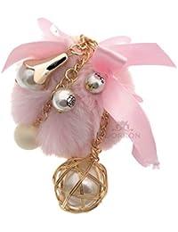 f8f029ad9e7c DORRON Girls Stylish Pompom Pearl Fluffy Faux Fur Key Chains   Key Rings  for Bags