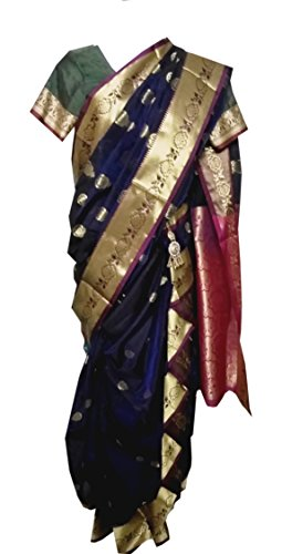 JAY VITHAI TRADITION Mastani/Peshvai Nauvari Blue Silk Saree Ready 2 Wear (Rich...